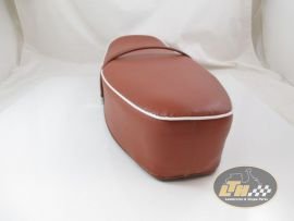 Seat brown, with white welt, w/o lock Vespa 50-125, PV, ET3
