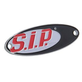 Plakette SIP Scootershop,  antiksilber, Emaille, 60x20 mm,
