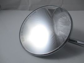 Mirror left side 125mm round chrome length stick 260mm  incl. bracket (Ital.) Vespa