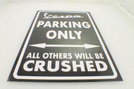 Sign Vespa parking only 40x25mm