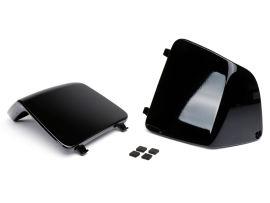 Wartungsklappe-Set für Innenverkleidung Beinschild -MOTO NOSTRA- Vespa GT, GTL, GTV, GTS 125-300 (2003-), HPE, Supertech, Supersport, Touring - (Abdeckung für Kühlwasserstutzen / Sicherungen) - schwarz glänzend